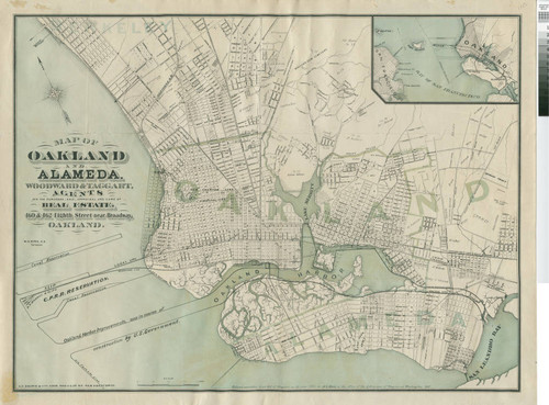 Map of Oakland and Alameda [cartographic material] / Woodward & Taggart, Agents for the purchase, sale and appraisal and care of real estate ; M G. King, surveyor