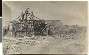 Construction of the first round house at the mission station, Ayra, Ethiopia, 1928