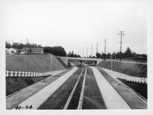 Arroyo Seco Parkway, State Route 205, Los Angeles County. View looking south from first viaduct north of Orange Grove Avenue, 1940