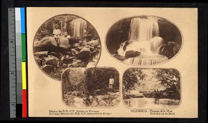 Four inset images of waterfalls, Congo, ca.1920-1940