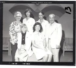 Unidentified staff at the Palm Drive Hospital service awards, 1984