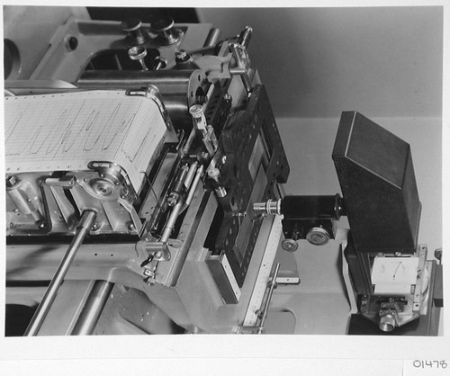 Microphotometer, showing detail of wedge carriage and tape recorder