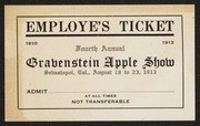 Gravenstein Apple Show employe's [sic] ticket