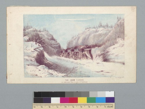 The snow plough [sic] at work near Blue Canyon, G.P. Railroad