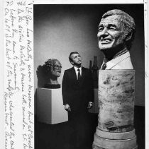 Lt. Governor Leo McCarthy views Moscone bust at Crocker
