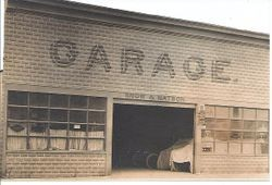 Snow and Watson Garage owned and operated by Clark Tabor Snow at Santa Rosa (Sebastopol) Avenue and Petaluma Avenue, Sebastopol, California, early 1900s