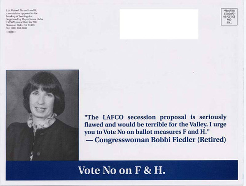 Anti-secession message from Bobbi Fiedler (side 1)