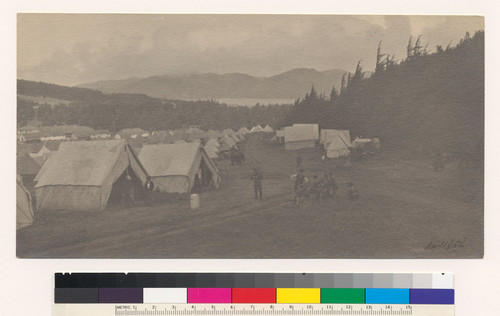 Refugee camp near the Golden Gate, in the Presidio