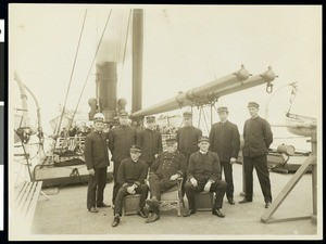 Captain Brown and his officers on the S.S. Ohio during the Los Angeles Chamber of Commerce's voyage to Hawaii, 1907