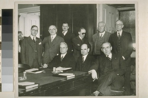 [Hiram Warren Johnson with] doctors who told Senate Commerce Subcommittee of the apparent success of new cancer serum. Washington D. C