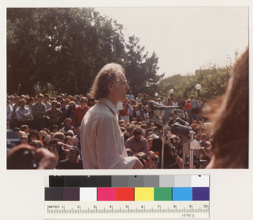 Mario Savio speaking at the Free Speech Movement 20th anniversary rally in Sproul Plaza