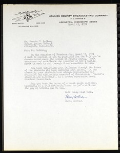 Cothran (Holmes County Broadcasting Company), letter, 1974, to Mallory (Saints College)