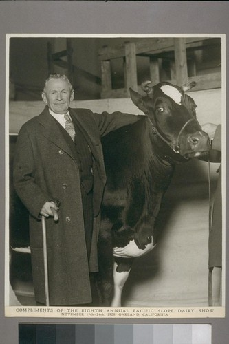 Compliments of the eighth annual Pacific Slope Dairy Show, November 19th-24th, 1928, Oakland, California