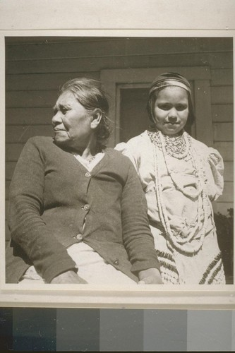 Mrs. Mary James and granddaughter, Patty Lopez, Smith River, Calif. June 18, 1938