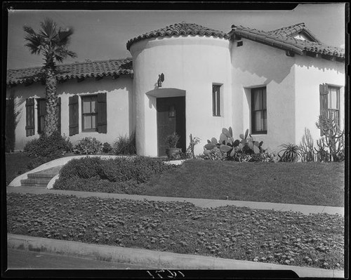 Calisphere Spanish Colonial Style House With Round Turret Entrance