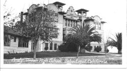 Analy Union High School, built in 1909, is seen, about 1920