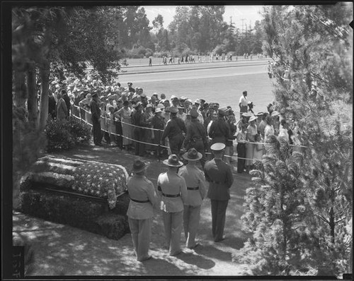 Funeral of Will Rogers at Forest Lawn, Glendale, 1935