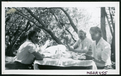 Photograph of L. Josephine Hawes, Edna Anderson, and Eleanor Thomas at a picnic table