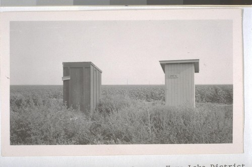 July, 1936, Kern County, Kern Lake District. The old and the new. An old style privy alongside of Public Health Service privy. Both are dirty inside showing no supervised effort to keep clean. Note the weeds in front and the excellent field of growing cotton in the rear