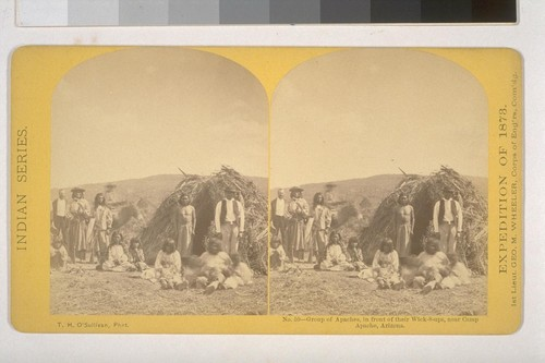 Group of Apaches, in front of the Wick-8-ups [sic], near Camp Apache, Arizona
