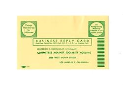 Committee Against Socialist Housing business reply card, 1952