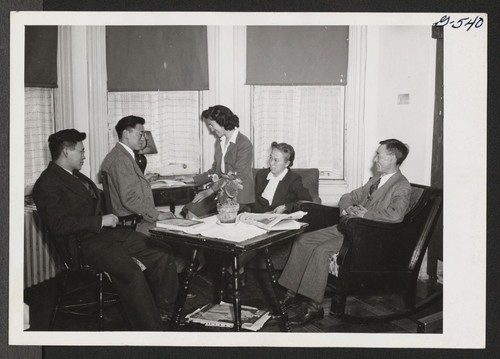 The Inouyes form a happy family group in the Philadelphia Hostel. Mr. and Mrs. S. Inouye are the managers of the Hostel, while George, William, and Miyoko attend nearby Swarthmore College. The family relocated from Jerome. Philadelphia, Pennsylvania