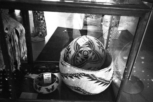 Lilly Baker's baskets on display at the Plumas County Museum