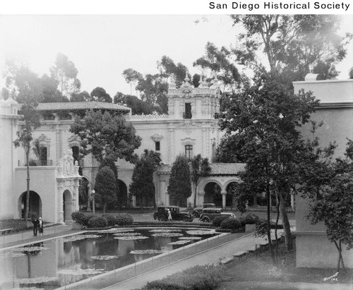 View of the Lily Pond looking toward the House of Hospitality during the 1935 Exposition