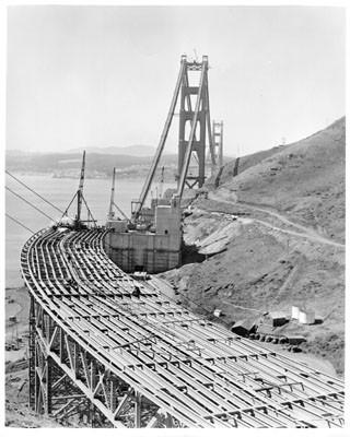 golden gate bridge deck of marin approach under construction