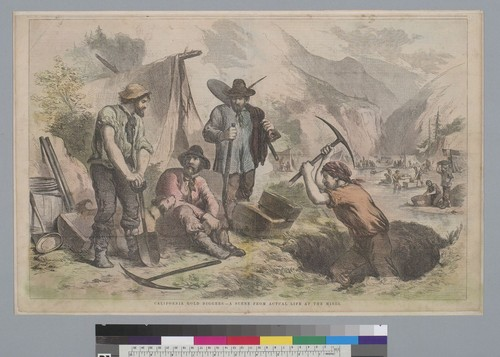 California gold diggers, a scene from actual life at the mines