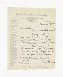 Letter from Robert Burns to Isidore B. Dockweiler, September 17, 1945