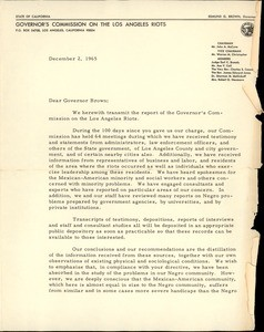 "Gov's Comm. on the LA Riots, letter, 1965-12-02, to ""Pat"" Brown"