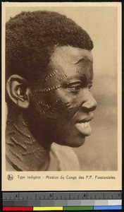 Profile portrait of an African man, Congo, ca.1920-1940