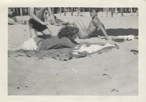 Unidentified woman, Harry Murray at Cowell Beach