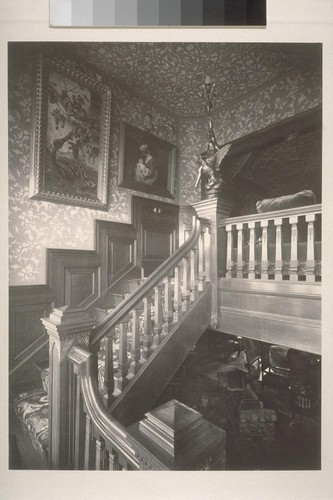 [Interior of mansion showing stairway]