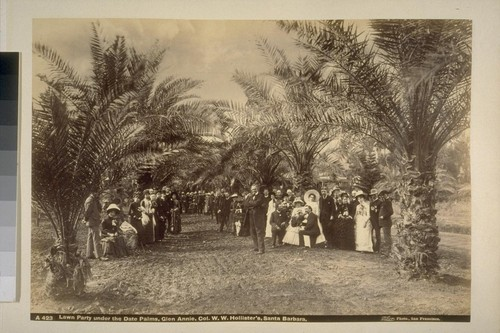 Lawn Party under the Date Palms, Glen Annie, Col. W.W. Hollister's, Santa Barbara.--A423
