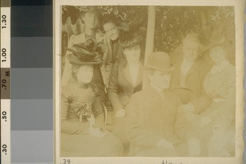Probably Santa Cruz Mtns. or Los Gatos. [Herman George Scheffauer, third from right; Ambrose Bierce, second from right.]