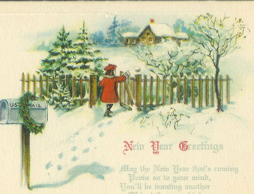 Calisphere new years message with design of winter scene with girl new years message with design of winter scene with girl in red coat walking through gate m4hsunfo
