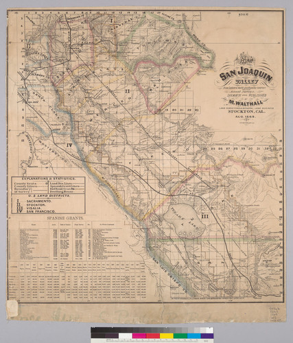 Map of the San Joaquin Valley [Calif.] : from latest & most authentic sources and from actual surveys / drawn and published by M. Walthall, land surveying & general business