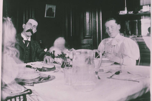 George Edmonds family dining together, Rustic Canyon, Calif