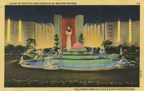 Court of Pacifica and Fountain of Western Waters, California World's Fair on San Francisco Bay