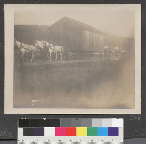 [Transportation of refugee camp cottage via horse and wagon.]