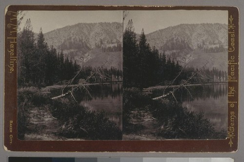 (Redfish Lake Views, First of Sawtooth Lake, Sawtooth Mts, Idaho Ter; on verso.) Place of publication: Baker City. Photographer's series: Gems of the Pacific Coast