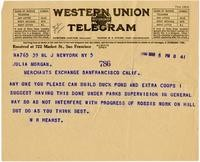 Telegram from William Randolph Hearst to Julia Morgan, March 5, 1926