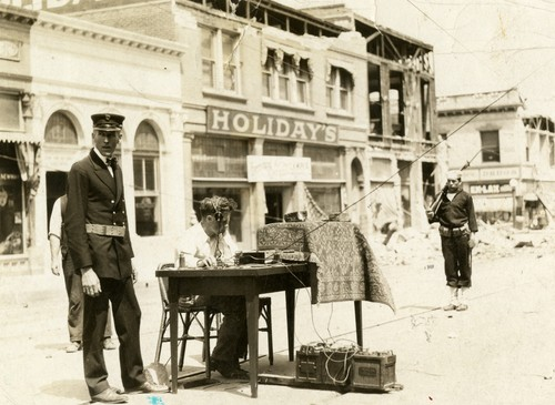 Santa Barbara 1925 Earthquake Damage - Telegraph Operator