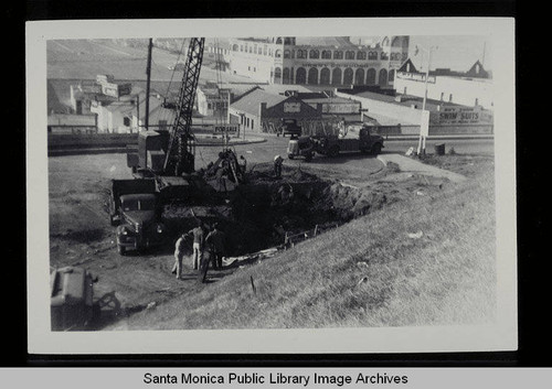 Excavation of the sewage pump plant across from the Santa Monica Pier on April 7, 1948