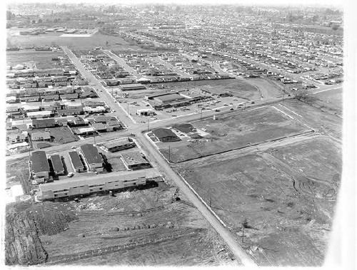 Aerial view of Mayette Shopping Center, Santa Rosa, California, 1960