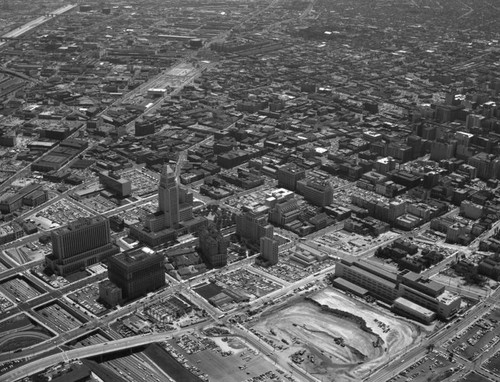 Aerial view of Downtown Los Angeles, looking southeast