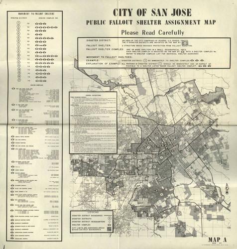 Calisphere: 1964 City of San Jose Public Fallout Shelter map