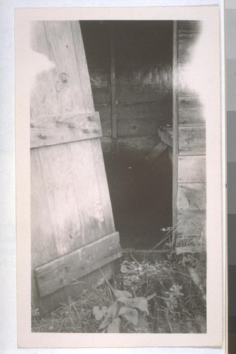 July, 1936, Kern County, Kern Lake District.[Broken door of small shack privy?]
